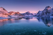 Aerial view of snow covered mountains and colorful sky reflected in water at dusk. Winter landscape with sea, snowy rocks, purple sky, reflection at sunset. Lofoten islands, Norway at twilight. Nature