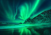 Northern lights in Lofoten islands, Norway. Green aurora borealis. Starry sky with polar lights. Night winter landscape with aurora, sea with frosty coast and sky reflection, snowy mountains. Travel