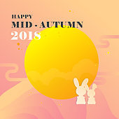 Mid Autumn festival 2018 banner vector illustration