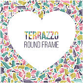 Template with frame heart shape, colorful border with space for text.
