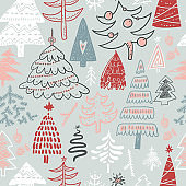 Funny doodle Christmas pine trees seamless pattern.