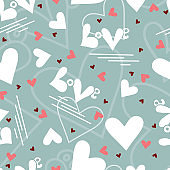 Word love and heart seamless pattern. Valentines background. Happy Valentine's Day.