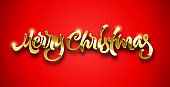 Merry Christmas calligraphic hand drawn golden lettering with volume and shiny sparkles on red background