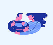 Dad hugging and cuddling baby boy or girl and nursing him. Mum hugging dad and son. Parents embracing newborn and expressing love and care. Modern vector illustration logo symbol for banner, website.