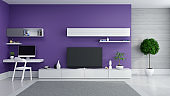 TV cabinet interior modern room design ,Ultraviolet home decor concept ,White sideboard  near working space with plant on dark purple wall and marble floor ,3d render