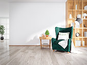 Modern mid century and minimalist interior of living room, green  armchair with wood table on white wall and wood floor ,3d render