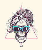 Women's skull in woodcut style with fashionable hairstyle wearing cool scarf and glasses against hipster abstract background. Vector illustration can be used as t-shirt print, poster, postcard etc.