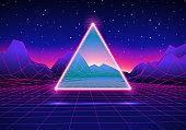 Retro futuristic landscape with triangle and shiny grid
