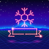 Christmas card with 80s neon snowflake and ribbon
