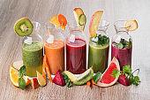 Set of detox juice fresh drinks