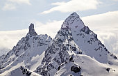 winter mountain landscape in the Swiss Alps above Klosters with the Gross Litzner and Gross Seehorn mountain peaks