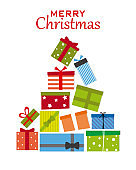 Christmas tree with gift packages