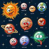 Cute cartoon planets of the solar system. Sun, Mercury, Venus, Earth, Mars, Jupiter, Saturn, Uranus, Neptune, Pluto