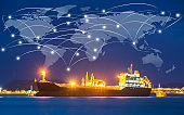 Map global logistics partnership connection of Container Cargo freight ship for Logistics Import Export background ,Global logistics network transportation