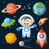 Set of space elements. Astronaut, Earth, saturn, moon, UFO, rocket, comet, constellation, sputnik and stars