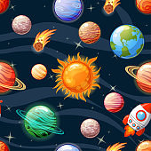 Seamless space pattern with Sun, Mercury, Venus, Earth, Mars, Jupiter, Saturn, Uranus, Neptune, Pluto, spaceship, asteroid and stars