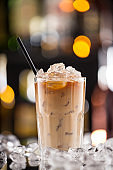 Ice coffee on bar desk