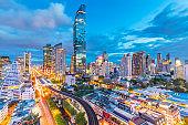 City view of Bangkok city and subway station Thailand