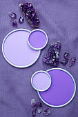 Amethyst crystals with a round frame with a place for designer's