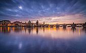 Charles bridge in Prague after sunset. Czech republic