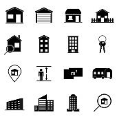 Real estate icons on white background, stock vector