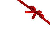 Shiny red satin ribbon bow