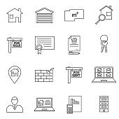 Set of real estate Related Vector Line Icons. Includes such Icons as a house, apartment, keys, garage, cottage, house layout, contract.