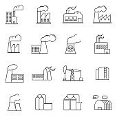 Simple Set of Factories Related Vector Line Icons. Contains such Icons as Truck Terminal, Power Station, Mine, Warehouse, Greenhouse and more. Flat design