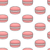 Seamless pattern with pink macaroons. Colorful macarons cake. Flat style, vector illustration.