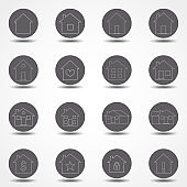 Simple collection of home related line icons. Thin line vector set of signs for infographic, logo, app development and website design.