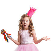 Surprised candy princess girl