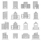 Building line icon set. Signs for infographic, logo, app development and website design.