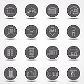 Property and accommodation line icon set. Included the icons as home, house, palace, resort, apartment, tower and more. Thin line vector icons for website design and development, app development.