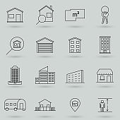 Property and accommodation line icon set. Included the icons as home, house, palace, resort, apartment, tower and more. Symbol, logo illustration.
