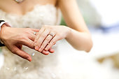 Groom and brides hands with rings,Rings of husband and wife.Two hands on a wedding day.