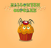 Cute happy halloween cupcake with spider and monster eyes on ora