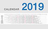 Calendar year 2019 horizontal vector design template, simple and clean design.