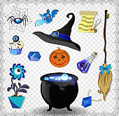 Witch accessories vector set in blue color isolated on transparent