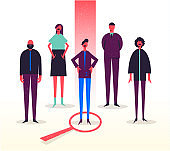 Vector business illustration, stylized characters. Recruitment, head hunting, job searching. Choosing one from others.