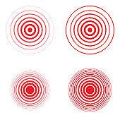 Set of pain red circle