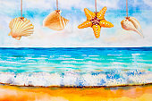Watercolor painting colorful of sea beach and shell.