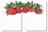 Christmas wreath with bright red cherry