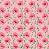Seamless pattern with pink flowers and leaves on white background, watercolor floral pattern, flower in pink color, flower pattern for wallpaper, card or fabric