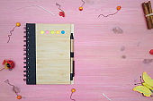 Blank page note pad on purple wooden desk table background with copy space. To do list. Tips.