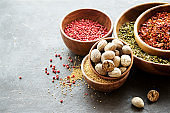 Variation of  spices and seasonings in wooden bowls