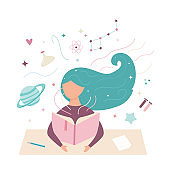 Vector image of a girl reading a book. Student in working process