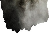 Black Textured Watercolor spot isolated on white. Hand drawn ink smear paint texture design element. Grungy sketchy blot.