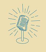 vintage old microphone icon isolated on white background. Design element for logo, poster, emblem, sign. Vector illustration.beige background