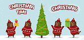Set of brown bears in different poses near Christmas tree. Happy forest animals on snow. Happy bear on snow skates with gift. Bear wear winter pullover with knitted deer décor. For new year invitation, cards, banners, tags and labels