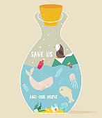 Eco concept poster with bottle and animals inside. Environment protection. Stop ocean pollution. Whale, seal, penguin.